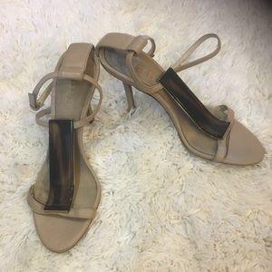 Burberry ankle strap beige heels